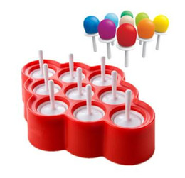 Wholesale Ce Cream Maker - Ice Lolly Mould Silicone Mini Ice Pops Mold Ice Cream Ball Lolly Maker Popsicle Molds With 9 Cavity DIY Kitchen Tools