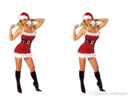 Wholesale Costume Santa Claus Woman Sexy - 2017 Hot Sale Sexy Slim Sling White Plush Side Christmas Outfit Christmas Stage Outfit Uniform Temptation Stage Dress Hats Belt