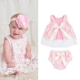 Wholesale Baby Bloomer Dress - Wholesale- Free Shipping 2PCS Baby Clothes Set Toddler Infants Girls Lace Floral Tops Shirt Tulle Dress PP Pants Bloomers Princess Outfits