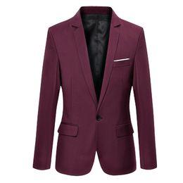Wholesale Long Dress Jackets For Men - Wholesale- Mens coat Wedding dress suit Jacket Jaqueta slim fit fashion blazer for Male cotton men blazers Costume Homme
