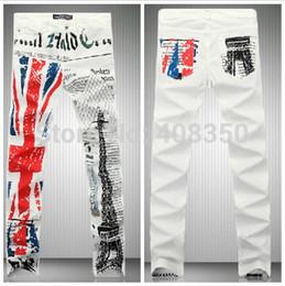 Wholesale Union Jacks Pants - Wholesale- Men's Union Jack Flag Eiffel Tower Print Skinny Jean Pant Fashion Casual Straight Pencil Pant, Night Club 2016 New Brand Jeans
