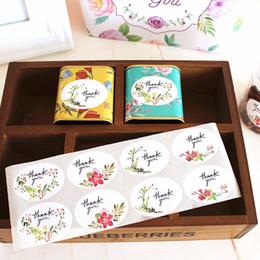 Décorations de boulangerie en Ligne-Décoration florale merci autocollant boulangerie paquet décoratif scellant cadeau sac boîte autocollants