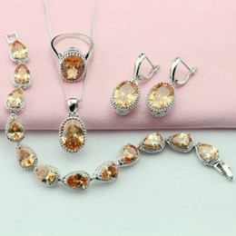 Wholesale Ashley Free - Ashley 4PCS Yellow Stone Silver Plated Jewelry Sets For Women Crystal Drop Earrings Bracelet Necklace Pendant Ring Free Gift Box