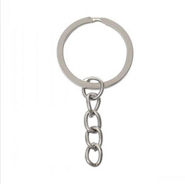 Wholesale Wholesale Split Ring Key Chain - Key Ring Key Chain Rhodium Plated 50mm long Round Split keychain wholesale Key Chain Rings Women Men Jewelry b065