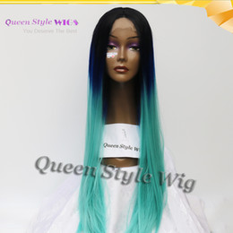 Wholesale Two Tone Colored Wigs - 2017 Trendy Color Silky Straight Colored Black Root Two Tone Blue ombre Hair wig synthetic lace Front wigs for Fashion Lady