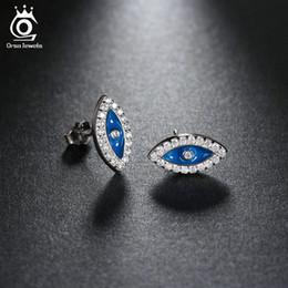 Wholesale Sapphire Cz Earrings - ORSA Sapphire Evil Eye Earrings White Gold Plated CZ Diamond Jewelry Stud Earrings for Women OEW131