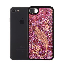 Wholesale Iphone Case Luxury Lace - USLION Luxury Glitter Quicksand bling Phone Case For iPhone 7 6 6s Plus Lace Flower Feather Hard Cases Back Cover For iphone 7Plus