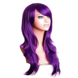 Wholesale Costumes Wigs Cheap - COS Anime Cosplay Wigs Purple colors Synthetic Hair Wig stage Cosplay Colored Costume cheap Long Straight Wigs For Party