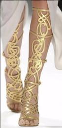 2019 sommer schneidet lange stiefel aus Goldstiefel Sommer Gladiatoren Frau Schuhe Stöckelschuhe Ausgeschnitten Sexy Lange Stiefel Ankle Sandalen Feminino Mujer T Show Stiefel günstig sommer schneidet lange stiefel aus
