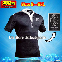 Wholesale Shirts Large - 2017 new All Black new zealand home rugby Jerseys 100 thanniversary year top Thailand quality rugby shirts Extra large size S-4XL-5XL