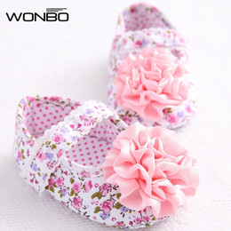 Wholesale Toddlers Ballet Shoes Pink - Wholesale- Pink Sweet Newborn Baby Infant Toddler First Walkers Big Flower Shoes Princess Ballet Dress Soft Soled Anti-slip Footwear Shoes