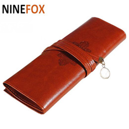 Wholesale Designer Pens - Wholesale- 2017 coin Purse Bag Designer Vintage Retro Roll Leather Make up Cosmetic Pen Pencil Case Pouch Purse Accessories free shipping