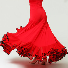 Wholesale Black Dance Skirts - big swing black red modern dance costumes flamenco skirt ballroom dance skirts women's ballroom skirt tango waltz skirt