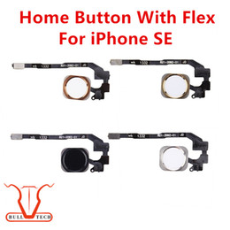 Wholesale High Quality Cell Phone Cables - Original For iPhone SE Home Button with Flex Cable Black White Gold Rose Gold Color High Quality Replacement Repair Cell Phone Spare Parts
