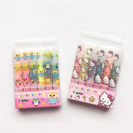 Wholesale Mini Cute Pens - Wholesale- P37 Set of 6 Cute Hello Kitty Owl Pocket Mini Highlighter Paint Marker Pen Drawing Liquid Chalk Stationery School Office Supply