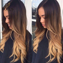 Wholesale Three Tone Lace Front Wigs - Ombre Full Lace Human Hair Wigs 1B 4 27 Three Tone Lace Front Wig 150% Density Thick Hair Wig With Baby Hair