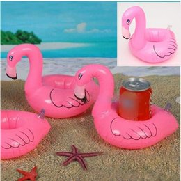 Wholesale vinyl stands - Mini Flamingo Floating Inflatable Drink Can Cell Phone Holder Stand Pool Toys Event & Party Supplies LC390