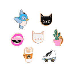 Wholesale Hats Bags Shoes - Wholesale- 9 Style Fashion Cartoon Bird Cute Cat Coffee Potted Plants Shoe Lips Enamel Brooch Pins Denim Jacket Hat Bag Decoration Brooches