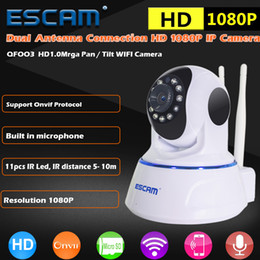 Wholesale Wireless Mini Cam Video Camera - ESCAM QF003 1080P 2MP Pan Tilt ONVIF Mini Cam IR Surveillance Camera CCTV Day Night Infrared Video Monitor WiFi Indoor IP Camera