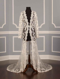 Wholesale Wedding Coat Long Sleeve White - 2017 Real photos Wedding Jackets for bridal Lace applique Sexy Illusion Ivory Applique Tulle Long Sleeves Luxury Bridal Jacket