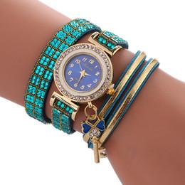 Wholesale Small Diamond Key - new women bright diamond leather fashion ladies bracelet watch love key pendant stone small dial wholesale 2017 quartz watches