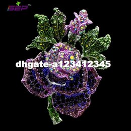 Wholesale Clear Rhinestone Flower Broach - 2016 New Insect Flower Rose Brooches Clear Rhinestone Pins Crystals Broaches for Women Jewelry Birthday Gifts 6635