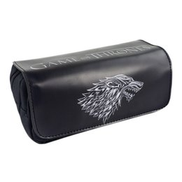 Wholesale Badge Cases - Wholesale- TV Series Game of Thrones: The Badge of House Stark Pencil Case Bag Student Stationery Pouch Cosmetic Travel Makeup Storage Bag