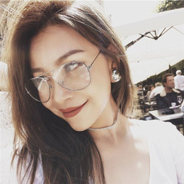 Wholesale Retro Nerd Glasses - Retro Vintage Round Metal Frame Eyeglasses Mens Womens Nerd Clear Lens Glasses Transparent Optical Eyewear Plain Spectacle