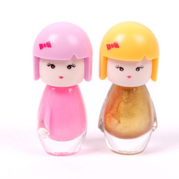Wholesale Nude Dolls - Wholesale- 2 bottles esmalte Lovely Cute Baby Doll Design Bright Glitter Colors Nail Polish Nail Varnish New #54908