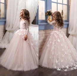 Wholesale Organza Butterflies Purple - 2018 New Tulle Lace Long Sleeves Ball Gown Floor Length Flower Girls Dresses Butterfly Kids Pageant Gowns for Birthday Party