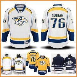 Wholesale Custom Jersey Embroidery - 76 P.K. PK Subban Ice Hockey Jerseys Custom Nashville Predators NHL Embroidery And Stitched Men's Gold Home Remier Player Jersey Adult
