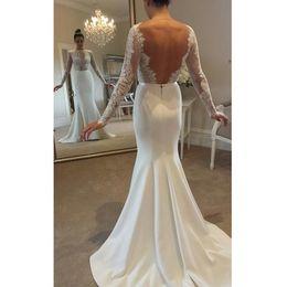 Wholesale Mermaid Beautiful Back Wedding Dresses - Jewel Sheath Long Sleeves Open Back White Elegant Sash Lace Appliques Sweep Train Beautiful Custom MADE Wedding Dresses