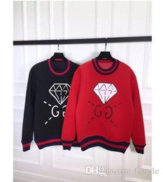 Wholesale Hot Winter Sweaters - hot New Brand Winter mens womens Diamond space cotton sweater Splicing wool lover sweatshirts Bulb skull letter print jumper