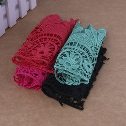 Wholesale Wholesale Bridal Trim - 15.5cm Lace Ribbon 4 Colored Wave Pattern Sewing Decoration DIY Embroidered Lace Trim Curtain Tablecloth Bridal Decoration Fabric