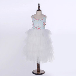 Wholesale White Gauze Top - 2017 Summer New Girls Dresses Floral Top White Tiered Gauze Long Length Party Princess Dress Children Clothing 2-7Y E15168