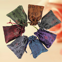 Wholesale Chinese Trinkets - Cheap Chinese Word Silk Brocade Jewelry Pouch Small Drawstring Cloth Gift Packaging Bag Sachet Trinket Coin Pocket Wholesale 50pcs lot
