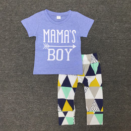 Wholesale Tees For Children - Boys Letter Tee+Triangle Long Pants Outfits Summer 2017 Baby Kids Clothes for Boutique Children Baby Boys Short Sleeves Pants 2 PC Set