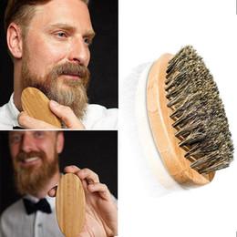 Wholesale Mustache Brush - Beard Brush For Men Bamboo brush Boar Bristles Face Massage men shaving brushes Comb Beards and Mustache ZA2023