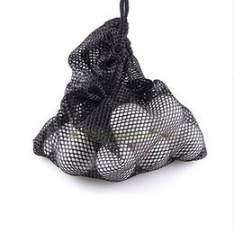 Wholesale Golf Nets Wholesale - Wholesale- Black Nylon Mesh Net Bag Pouch Golf Tennis 48 Balls Holder Hold Ball Storage Closure Training Aid Durable