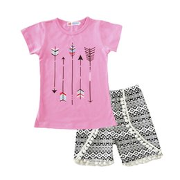 Wholesale Leopard Wholesale For Kids Clothing - Girls clothes Summer children short sleeve tassels outfits kids arrow pink top + short 2 pcs for 1~5 Y