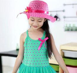 Wholesale Girls Sun Suits - Fashion Summer Sun Hat Girls Kids Beach Hats Bags Flower Straw Hat Cap weave Tote Handbag Bag Suit fit 1-6 Years Children sunhat