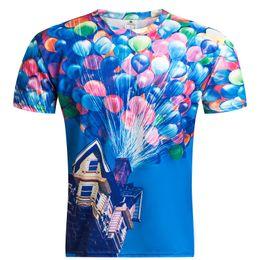 Wholesale Balloon Shorts - Balloon Digital Printing Men's Fashion T-shirt Wholesale Short sleeves Crew Neck Cotton Blend T Shirt 2017 Hot Sale