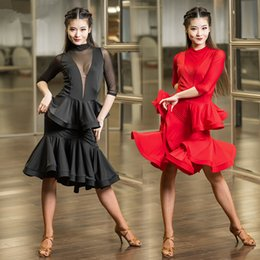 Wholesale Irregular Shirts - 2Color 2017 New Latin dance dresses elegant women sexy V collar perspective rumba Sasa tango samba costume competition Latin irregular shirt