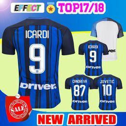 Wholesale Milan Shorts - Thailand Quality 2017 Inter home Away Soccer jersey CANDREVA ICARDI JOVETIC 2018 Milan KONDOGBIA 17 18 Maillot de foot football shirts