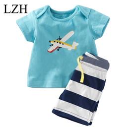 Wholesale Airplane T - Wholesale- LZH Baby Boys Clothes Kids Airplane Print T-shirt+Stripe Shorts Children Clothing 2017 Summer Beach Sport Suit Boys Clothes Sets