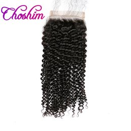 Wholesale Side Part Closures - Choshim KL Hair Silk Base Closure Kinky Curly Free Part Brazilian Remy Hair Silk Closure Bleached Knots With Baby Hair For Balck Women