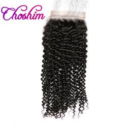 Wholesale Silk Bleach Knot Closure - Choshim KL Hair Silk Base Closure Kinky Curly Free Part Brazilian Remy Hair Silk Closure Bleached Knots With Baby Hair For Balck Women