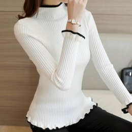 Wholesale Sweaters Butterfly - Wholesale- 2016 new winter half Korean women's sweater slim turtle neck long sleeve Pullover flounce thick backing