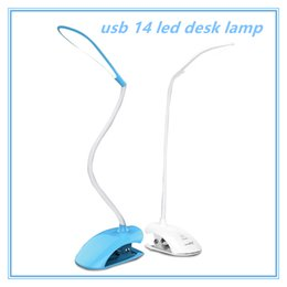 Wholesale Desk Study Lamps - book Light reading light usb 14 led desk lamp clip fixtures touch lamp with clip single style