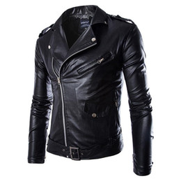 Wholesale Coat Long Style - Men Fashion PU Leather Jacket Spring Autumn New British Style Men Leather Jacket Motorcycle Jacket Male Coat Black Brown M-3XL